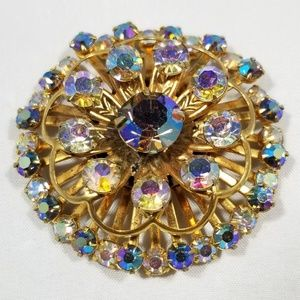 Vintage custom jewelry brooches pin crystals rhine